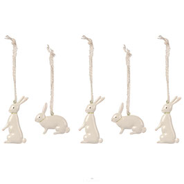 5 MAILEG METAL BUNNIES IN BOX