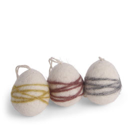 Én Gry & Sif Filz Schnur Eier, 3er Set -FAIR TRADE-
