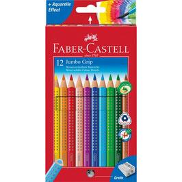 Faber-Castell Buntstift Jumbo Grip, 12er Kartonetui mit passendem Spitzer