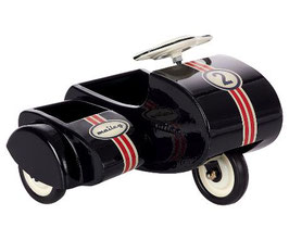 MAILEG BLACK SCOOTER WITH SIDECAR, METAL