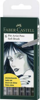 FABER CASTELL Pitt Artist Pen Soft Brush Tuschestift, 6er Etui