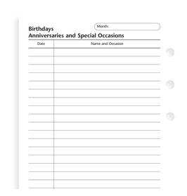 Einlage Geburtstage / Jahrestage, deutsch, Personal