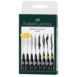 Faber-Castell Tuschestift Pitt Artist Pen, 8er-Etui Schwarz