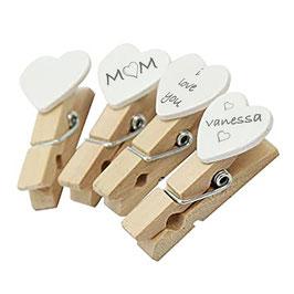 Wäscheklammern mit Herzchen aus Holz