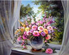 Bloemen bij het raam - H18102