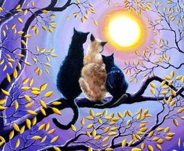 Drie katten op boom - D18165