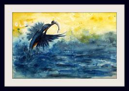 """Eisvogel - Kingfisher - """"Got it"""" -  """"Hab es"""" - Aquarell - 40 x 62 cm - ohne Rahmen und Passepartout"""