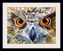 Kurzohreule - 30 x 40 cm - Aquarell - Watercolour -  inkl. Passepartout 40x50cm - ohne Rahmen