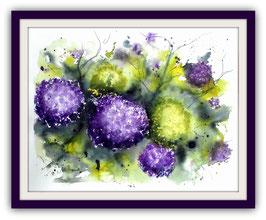 Hortensien - 34 x 44 cm - Aquarell - Watercolour -  inkl. Passepartout 40x50cm - ohne Rahmen