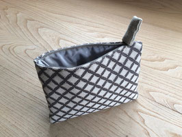 Bag in Bag - Gittermuster - antrazit auf ecru