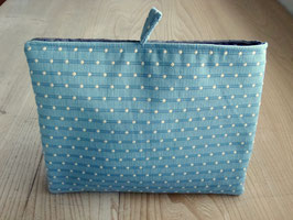 Tablet Bag für grosse Tablets - Hellblau ecru getupft