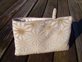 Tablet Bag i-Pad mini- Samet Sterne Sand auf Ecru