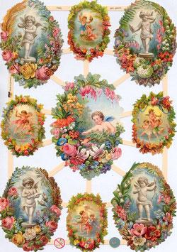 Poezieplaatjes engeltjes in bloemenkrans