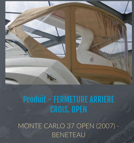 TOILE DE FERMETURE ARRIERE MONTE CARLO OPEN 37