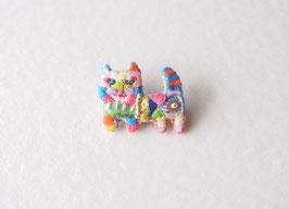 刺繍のブローチneko02