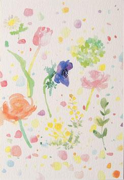 お花畑のポストカード