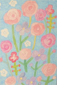 青い背景のお花ポストカード