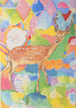 カラフル鹿さんポストカード