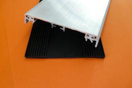 Alu - Verlege Mittelprofil für VSG-Glas 60mm incl. EPDM -Lippendichtung Grau & Rippenunterlegband Schwarz