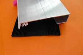 Alu - Rand-Verlegeprofil für VSG - Glas 60mm incl. EPDM -Lippendichtung & Rippenunterlegband Grau