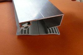 Alu - Rand-Verlegeprofil für VSG - Glas 60mm incl. Dichtung  Lippen & Rippenunterlegband Grau