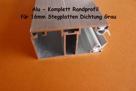 Alu - Komplett - Rand-Verlegeprofil incl. Dichtung Grau
