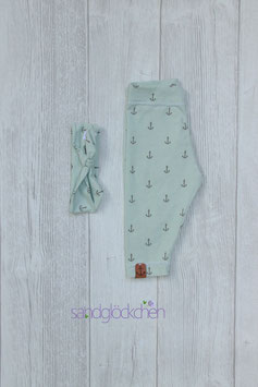 Leggins mint/grau - Gr. 62