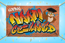 Hoera Geslaagd Banner Jongen - Graffiti