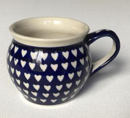 Boerenbeker (senseo) blauw met witte harten