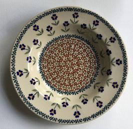 Soepbord bruin met blauwe bloem