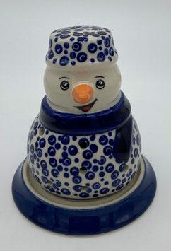 Sneeuwpop blauwe stip met schotel voor waxinelichtje
