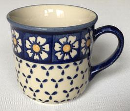 rechte beker blauw met bloem