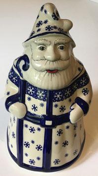 Grote koekpot kerstman met sneeuwvlokken