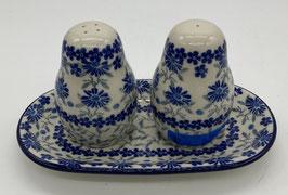 Peper en zout stel 3-delig blauwe bloem