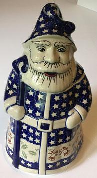 Grote koekpot kerstman bruine klok