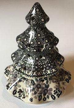Kerstboom zwart/grijs, voor waxinelicht