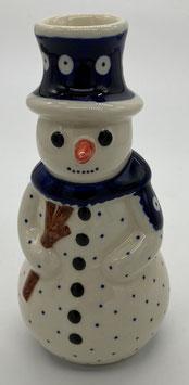 Sneeuwpop stip voor kaars