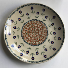 Dinerbord bruin met blauwe bloem