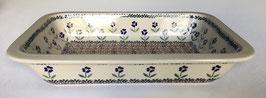 Rechthoekige ovenschaal bruin met blauwe bloem