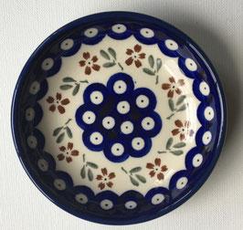 Petif fours bordje blauw rondje met bruine bloem