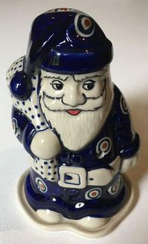 Kerstman blauwe stippen voor waxinelicht