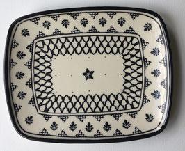 Rechthoekige platte schaal zwart/wit