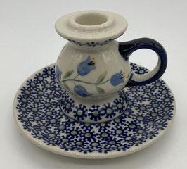Kaarsenstandaard laag blauwe bloem