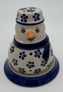Sneeuwpop blauwe stip bloem met schotel voor waxinelichtje
