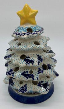 Kerstboom blauwe rendier voor waxinelicht