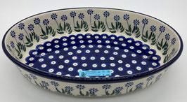 Ovalen ovenschaal blauwe bloem
