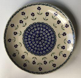 Dinerbord blauw met blauwe bloem
