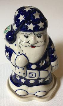 Kerstman blauwe met witte sterren voor waxinelicht