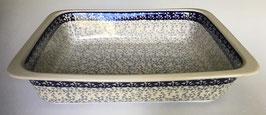 Rechthoekige ovenschaal donkerblauw met lichtblauw
