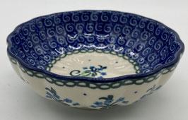 Rond geribbeld bakje blauwe bloem
